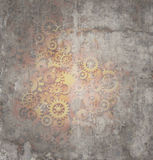 Steampunk Grunge Background. As a rustic texture science fiction concept made of dirty metal copper gears and cogs as a technology symbol of futuristicscifi stock illustration