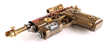 Steampunk Hand Cannon. Steampunk style future pistol. Hand/home made gun royalty free stock image