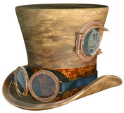 Steampunk Hat and Goggles. Isolated illustration of a steampunk top hat and brass goggles