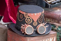 Steampunk Hat and Goggles stock photography