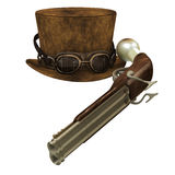 Steampunk Hat Goggles Gun Royalty Free Stock Photo