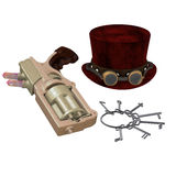 Steampunk Hat Goggles Gun Keys Stock Image