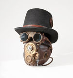 Steampunk hat, goggles and mask. Vintage steampunk hat, goggles and mask on the white background Royalty Free Stock Images