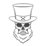 Steampunk Head hunter skull with beard  Royalty Free Stock Images
