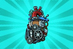 Steampunk heart motor. Pop art retro vector illustration vector illustration