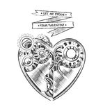 Steampunk hipster vector drawing Valentine heart art element for card, site Stock Photos