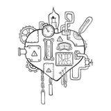 Steampunk hjärta royaltyfri illustrationer