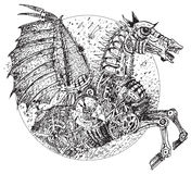 Steampunk horse (vector). Mechanical horse. In style Steampunk Royalty Free Stock Photography