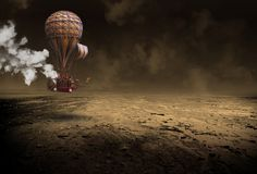 Steampunk Hot Air Balloon, Surreal Airship, Vintage. Surreal landscape of a steampunk hot air balloon flying over a desolate desert. Vintage retro technology stock image