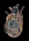 Steampunk Human Machine Heart Isolated. Steampunk industrial machine human heart. The mechanical body part is isolated on black. The symbol of love has a PNG Royalty Free Stock Photos