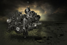 Steampunk Industrial Factory Machine Background. Abstract concept for a steampunk grunge industrial factory machine background. The futuristic engine motor is royalty free stock image