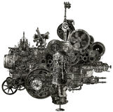 Steampunk Industrial Manufacturing Machine Isolated. A funky and whimsical steampunk machine or motor. The fantasy device could be found in an industrial stock images