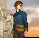 Steampunk inspired youth with gothic ruins Royalty Free Stock Photography