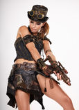 Steampunk isolated woman. Fantasy fashion for cover royalty free stock photo