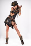 Steampunk isolated woman. Fantasy fashion for cover stock photography