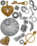 Steampunk Trinkets. Steampunk ornaments isolated on white background Stock Images