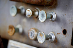 Steampunk Knobs. Pull knobs - choke and throttle with shallow depth of field stock photo
