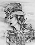 Steampunk kobieta ilustracja wektor