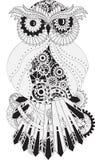 Steampunk konturu wektorowa sowa z przekładnią kruszcowy Fotografia Royalty Free