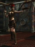 Steampunk krigareflicka i dystopian fabrik Arkivfoto