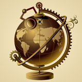Steampunk kula ziemska ilustracji