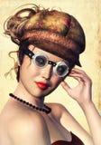 Steampunk kvinna fotografering för bildbyråer