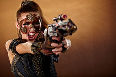 Steampunk kvinna Fantasimode Fotografering för Bildbyråer