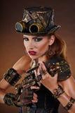 Steampunk kvinna Fantasimode Royaltyfri Bild