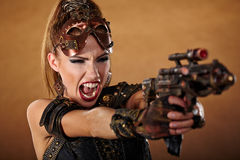 Steampunk kvinna Fantasimode Arkivfoto