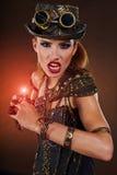 Steampunk kvinna Fantasimode Royaltyfria Bilder