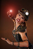Steampunk kvinna Fantasimode Arkivbild