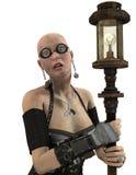 Steampunk kvinna med lyktan Royaltyfria Bilder