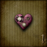 Steampunk love. Heart on grunge background Stock Photos