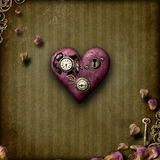 Steampunk love. Heart on grunge background with romantic theme...rose petals, border & heart shaped leaves Royalty Free Stock Image