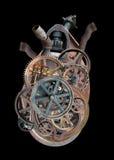 Steampunk Ludzkiej maszyny serce Odizolowywający Zdjęcia Royalty Free