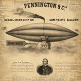 Steampunk mönstrat papper - Derigible - luftskepp - ballong för varm luft - tappningflygmaskiner vektor illustrationer