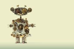 Steampunk machinalny robot Starzeć się przekładnie, cog koła ręki zegar rozdzielają mechanizm Podława grunge narysu metalu tekstu Obraz Stock