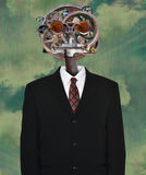 Steampunk Machine, Business Suit, Tie Royalty Free Stock Image