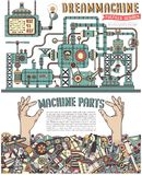 Steampunk machine. Strange fantastic steampunk machine. Poster with arms sticking out from a pile of scrap metal, spare parts stock illustration