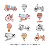 Steampunk machines collection, hand drawn vector illustration. Royalty Free Stock Images