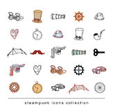 Steampunk machines collection, hand drawn vector illustration. Royalty Free Stock Photos