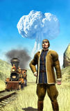 Steampunk man and atomic war. In 3d stock illustration
