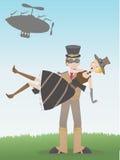 Steampunk Man Catching Steampunk Woman Fallen Royalty Free Stock Photography