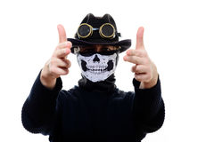 Steampunk man in the hat and mask skeleton Royalty Free Stock Image