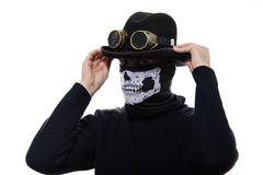 Steampunk man in the hat and mask skeleton Royalty Free Stock Images