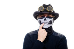 Steampunk man in the hat and mask skeleton Stock Photography
