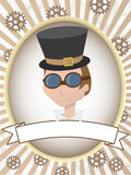 Steampunk man product label gears and goggles Stock Photo