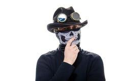 Steampunk-Mann im Hut und im Maskenskelett Lizenzfreies Stockbild