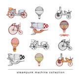 Steampunk maszyny kolekcje, ręka rysująca wektorowa ilustracja Obrazy Royalty Free