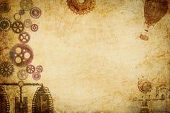 Steampunk maszyny n przekładni papierowy tło zdjęcia royalty free